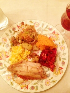 Thanksgiving, holiday, turkey, sweet potatoes, jello, stuffing, plate, dinner