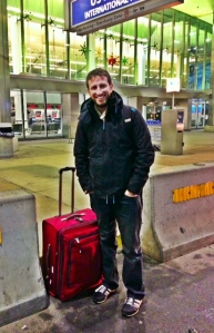 adult son, airport, Philadelphia, luggage, travel, international, airplane, leaving